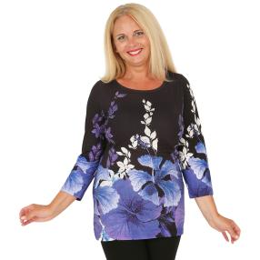 BRILLIANTSHIRTS Damen-Shirt schwarz/weiß/blau