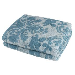 OPTISPLASH Duschtuch 2er Set, Jacquard blau