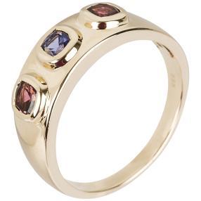STAR Ring 585 Gelbgold AAAA Tansanit, AAA Rubellit