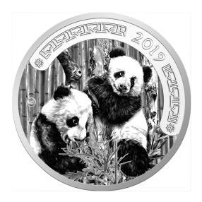 1 kg Pandabär 2019, versilbert