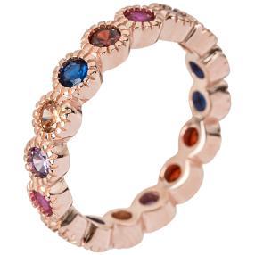Ring 925 Silber rosévergoldet Zirkonia multicolor