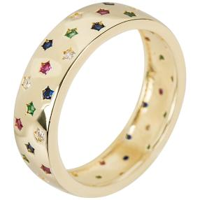 Ring 925 Silber vergoldet Zirkonia multicolor