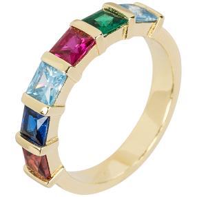 Ring 925 Silber vergoldet Zirkonia multicolor