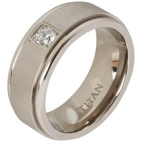 Titan Ring mit Zirkonia