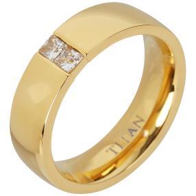 Titan Ring vergoldet mit Zirkonia