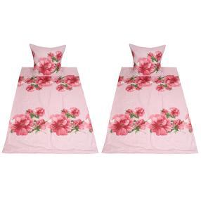 AllSeasons Bettwäsche 4-teilig, Blumen rosa