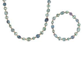 Set Collier+Armband Fluorit+Perle