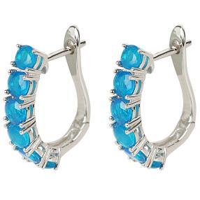 Creolen 925 Sterling Silber Äthiopischer Opal blau