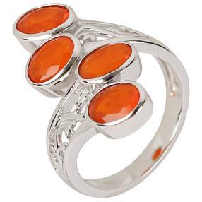 Ring 925 Sterling Silber Äthiopischer Opal orange