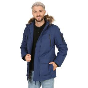 Herren-Jacke mit Kunstfell-Kapuze  dunkelblau