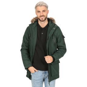 Herren-Jacke mit Kunstfell-Kapuze  dunkelgrün