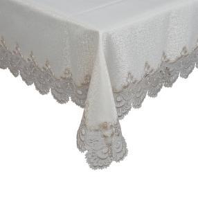 Teflon-Tischdecke mit Spitze ecru 130x160cm