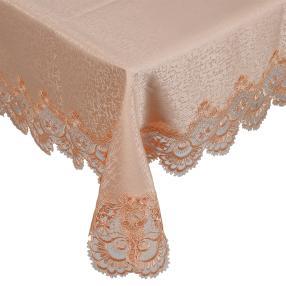 Teflon-Tischdecke mit Spitze apricot 130x160cm
