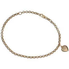 Erbsarmband 585 Gelbgold mit Herzanhänger