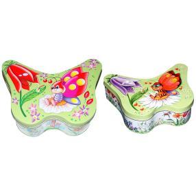 Metall-Schmetterlingsdosen 2fach sortiert