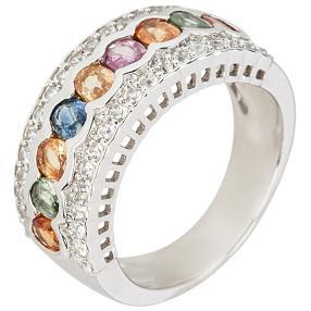 Ring 925 Sterling Silber Multi Saphir mit Zirkon