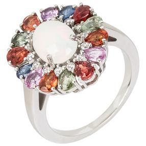 Ring 925 Silber Multi Saphir mit Opal+Zirkon