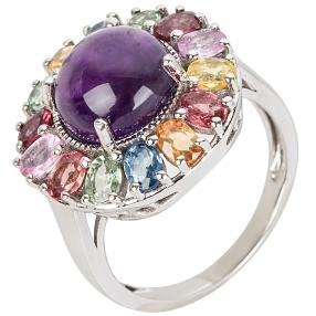 Ring 925 Silber Multi Saphir mit Amethyst
