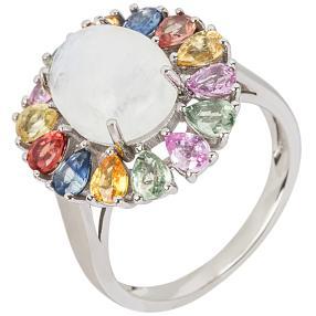 Ring 925 Silber Multi Saphir mit Mondstein