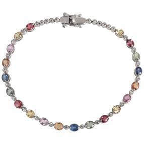 Armband  925 Silber Multi Saphir + Zirkon