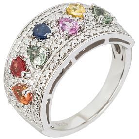 Ring 925 Silber Multi Saphir mit Zirkon