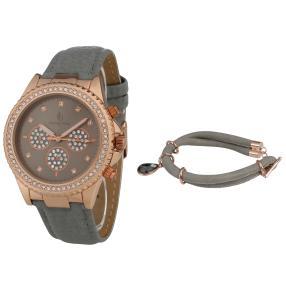 Crystal blue Damenuhr + Armband, grau