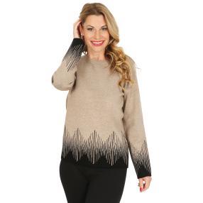 Pullover, schwarz/beige melange