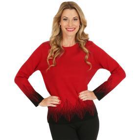 Pullover, schwarz/rot
