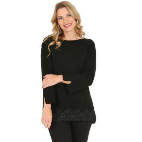 Pullover, Spitze, schwarz