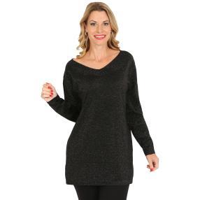 Pullover, Lurex, schwarz/dunkel grau