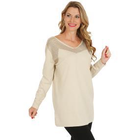 Pullover, Lurex, beige/gold