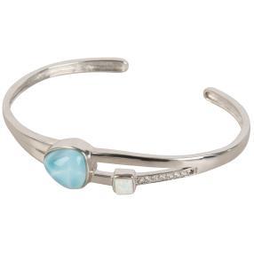 Armreif 950 Silber Larimar+Opal+Topas
