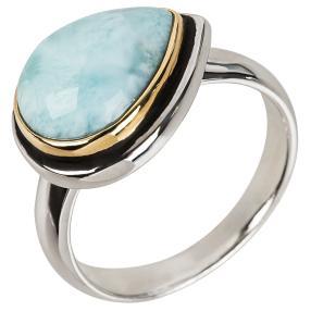 Ring 950 Silber bicolor, Larimar