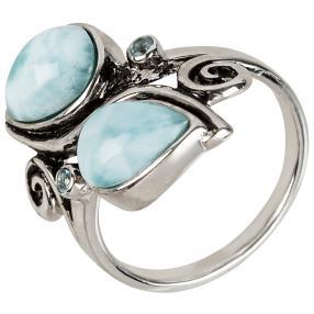 Ring 950 Silber Larimar+Topas