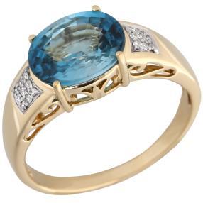 STAR Ring 585 Gelbgold AAA Zirkon blau