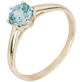 Ring 375 Gelbgold, Zirkon blau
