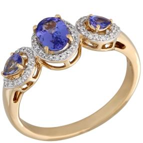 STAR Ring 750 Gelbgold AAAA Tansanit