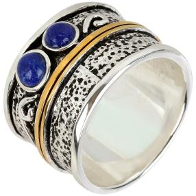 Ring 925 Sterling Silber bicolor Lapis