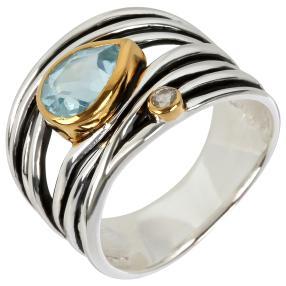 Ring 925 Sterling Silber bicolor Topas behandelt