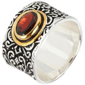 Ring 925 Sterling Silber bicolor Granat