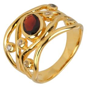 Ring 925 Sterling Silber vergoldet Granat