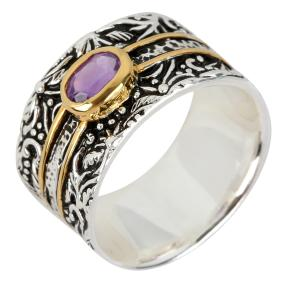 Ring 925 Sterling Silber bicolor Amethyst