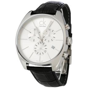 Calvin Klein Herren-Chronograph, Lederband schwarz