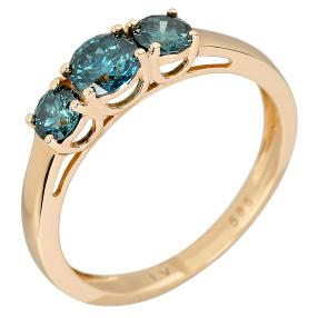 Ring 585 Gelbgold Brillanten blau
