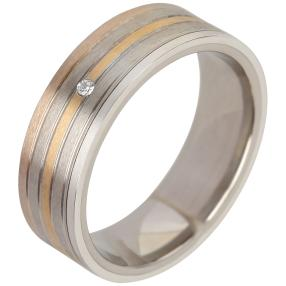 Ring Titan tricolor mit Brillant