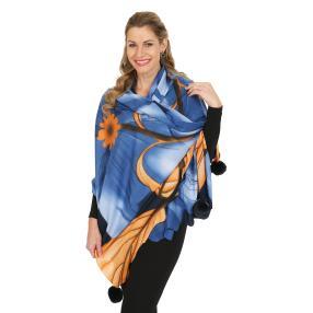 Schal mit Kaschmir blau