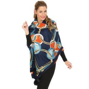 Schal mit Kaschmir dunkelblau