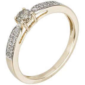Ring 585 Gelbgold Brillant champagner ca. 0,25ct.