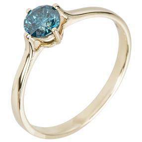 Ring 585 Gelbgold Brillant blau ca. 0,50ct.