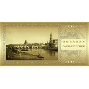 Goldbanknote Canalettob Bick Dresden